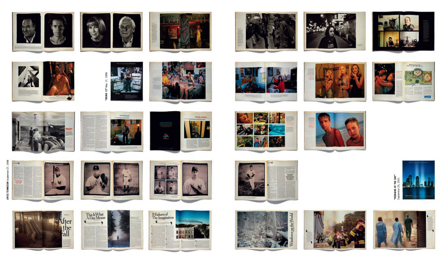A spread showing original layouts as published in the forthcoming book The New York Times Magazine Photographs, a retrospective of the last three decades, edited by Kathy Ryan and published by Aperture.