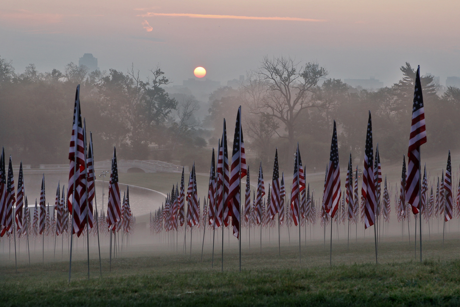 September 11, 2011. Three thousand flags rise out of the mist at dawn in Forest Park in St. Louis before the start of several ceremonies commemorating the 10 year anniversary of the 9/11 terrorists attacks.