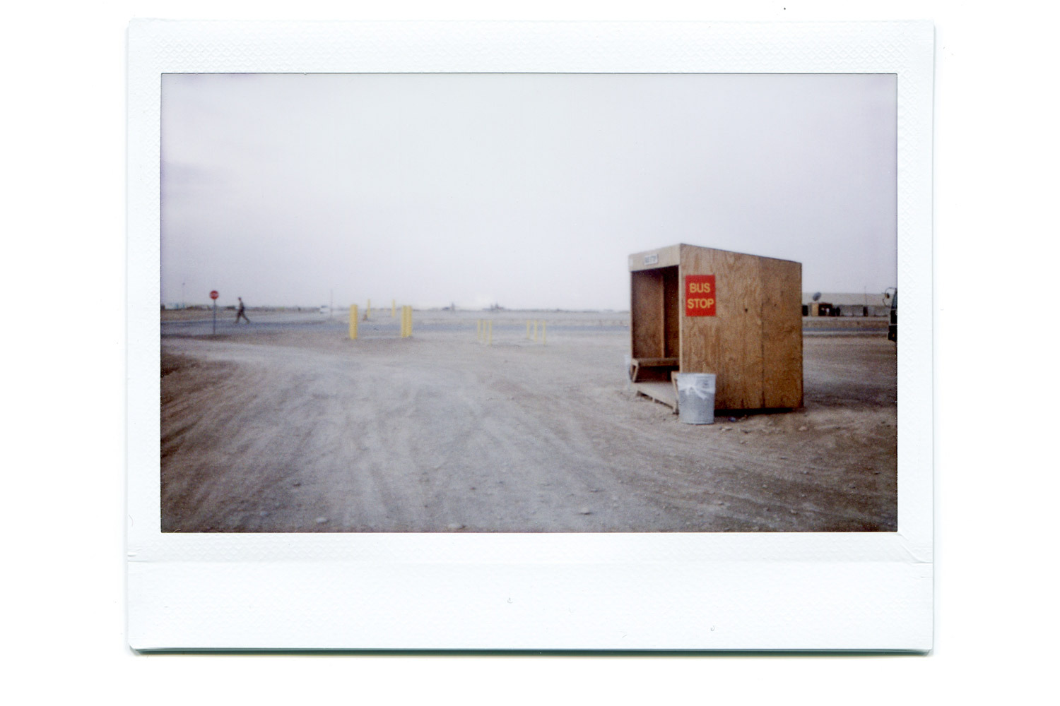 A bus stop on the American Camp Leatherneck.  I like the presence of the mundane in a conflict zone.