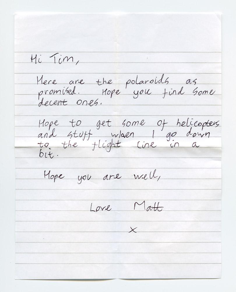 Letter from Matt to Tim.