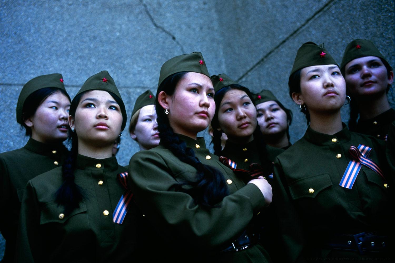 Girls wear soviet era military uniforms as part of Victory Day celebrations in Elista, Republic of Kalmykia, Russian Federation.