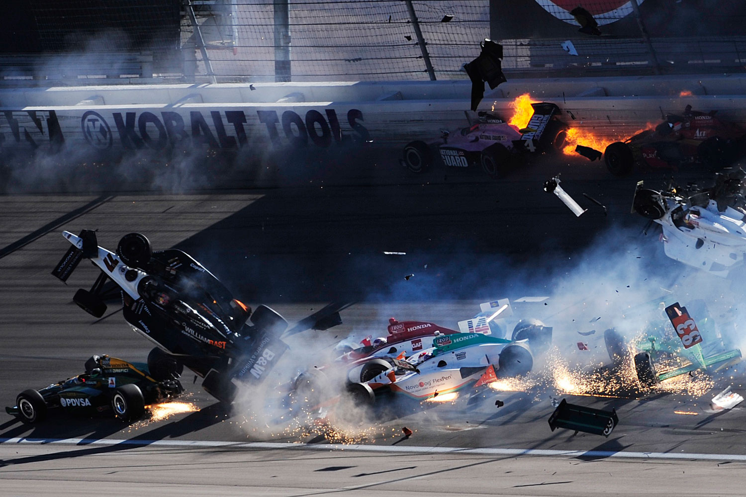 October 16, 2011. A horrifying 15-car crash cut short the IndyCar World Championship in Las Vegas. The fiery pileup, blamed on unsafe track conditions, claimed the life of driver Dan Wheldon, in car 77.