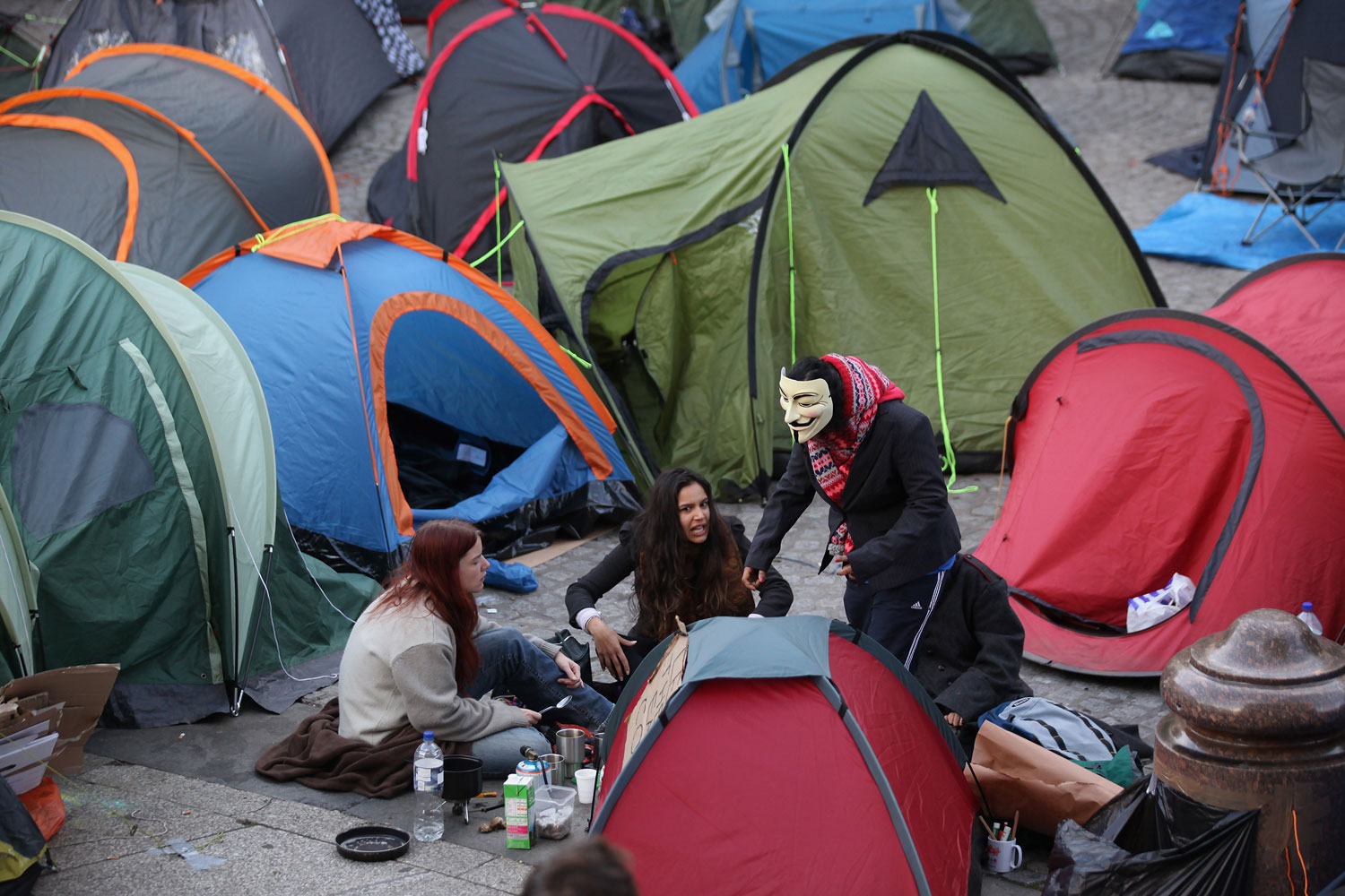 October 17, 2011. Tents are pitched in front of St Paul's Cathedral on the third day of a protest to occupy the London Stock Exchange in London, England. The demonstration, which is targeting corporate greed, stemmed from the  Occupy Wall Street  movement in New York and has spread to the financial districts of cities around the world.