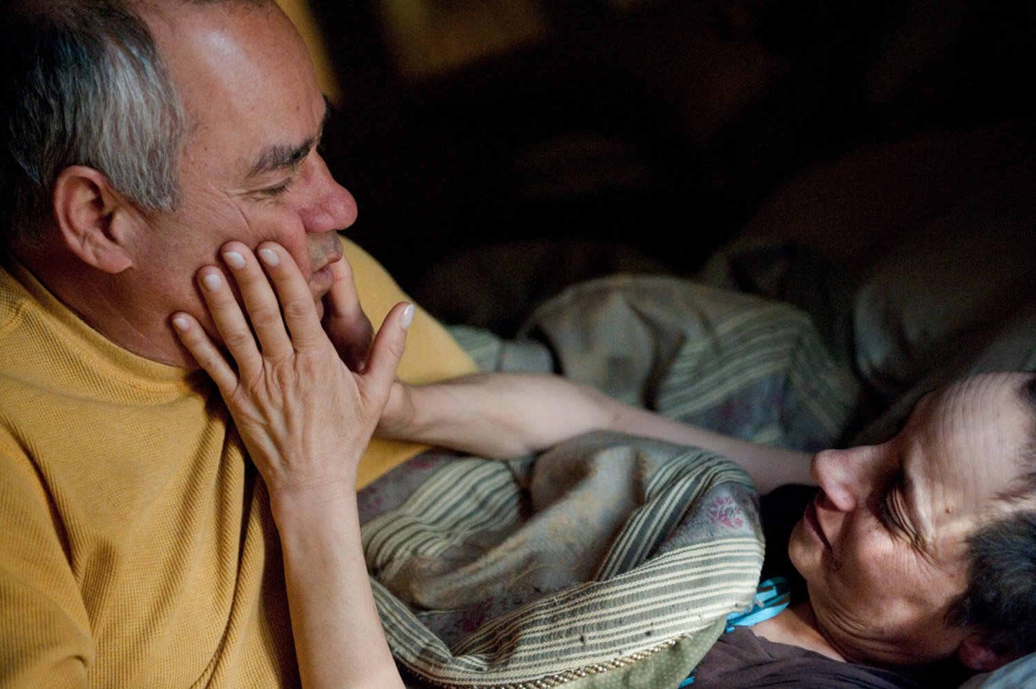 Howard Borowick, Laurel's husband and best friend for more than 30 years, gently wakes her up, February 2010.
