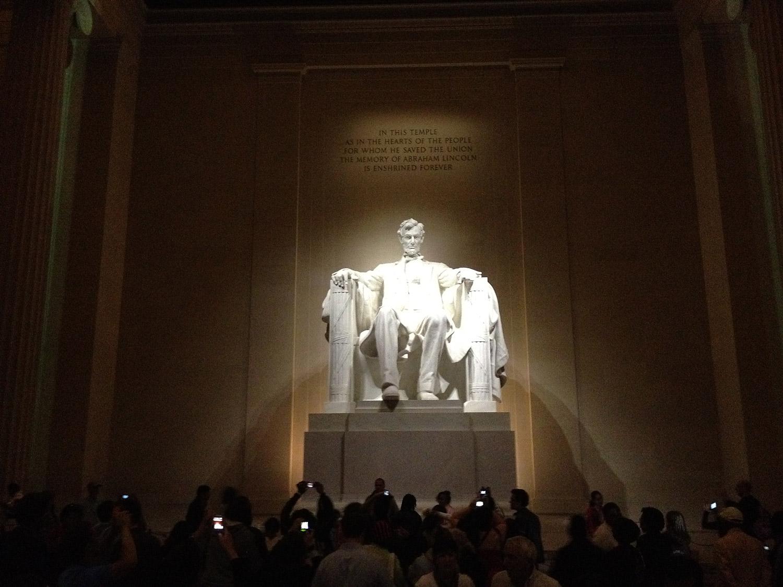 A night scene inside the Lincoln Memorial taken at ISO 640.