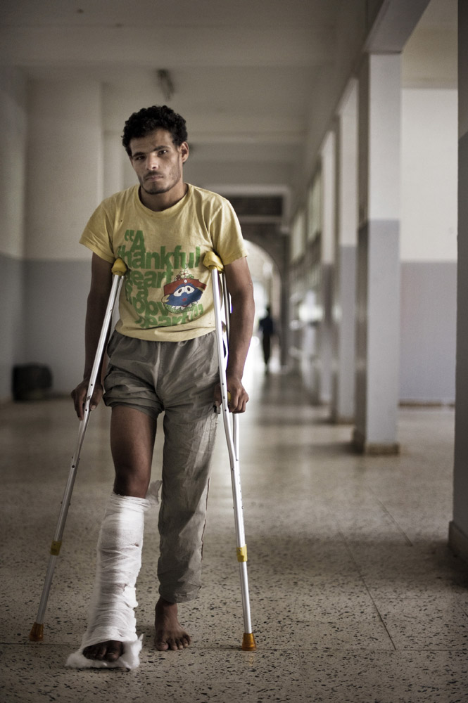 Abdullah Al-raimi, 21, recently wounded during protests in Sana'a.