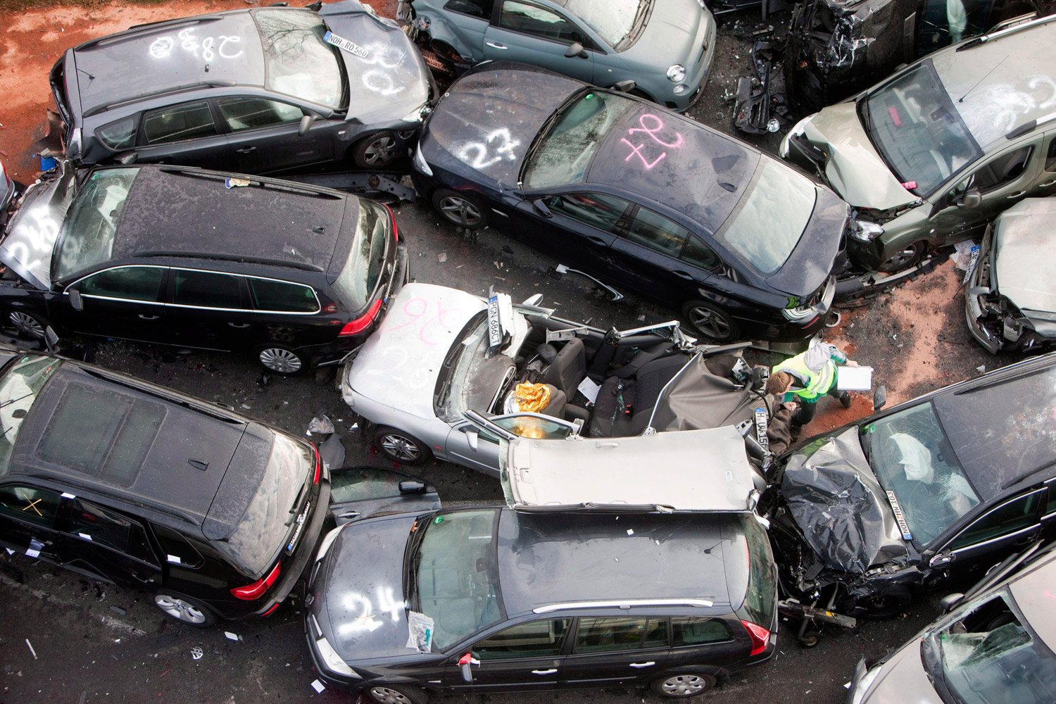 November 19, 2011. A general view of the aftermath of a car pile up that took place overnight on the A31 motorway between Heek and Gronau-Ochtrup in Germany. One woman and two men died in a 52-car pileup in foggy conditions late on an expressway in northern Germany. The accident left 35 people injured, including 14 in serious condition.