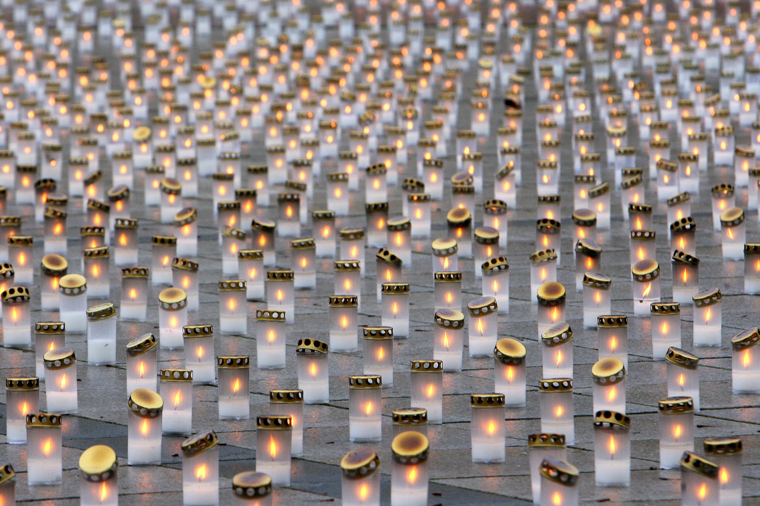November 20, 2011. 15, 377 candles are lit during a campaign in memory of those killed in road accidents at the Cathedral Square in Vilnius. Each candle symbolizes a victim.