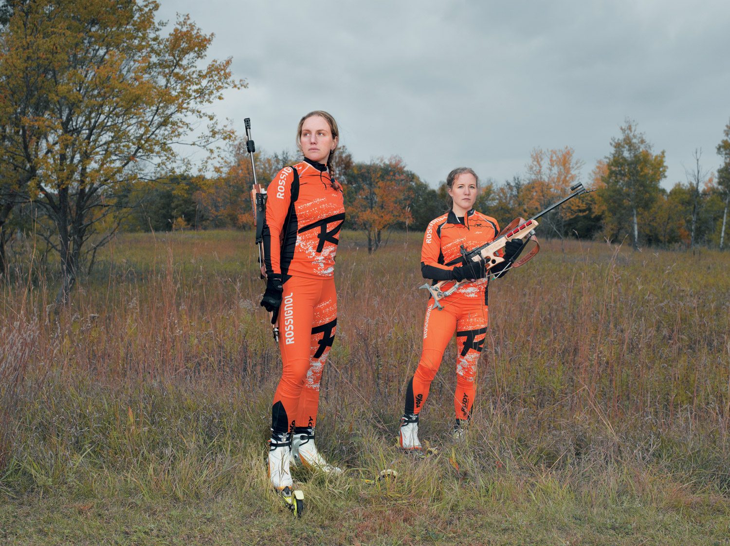 Caitlin and Carolyn (from left), Minneapolis, MN, Anschutz Fortner rifle with Czech custom stock