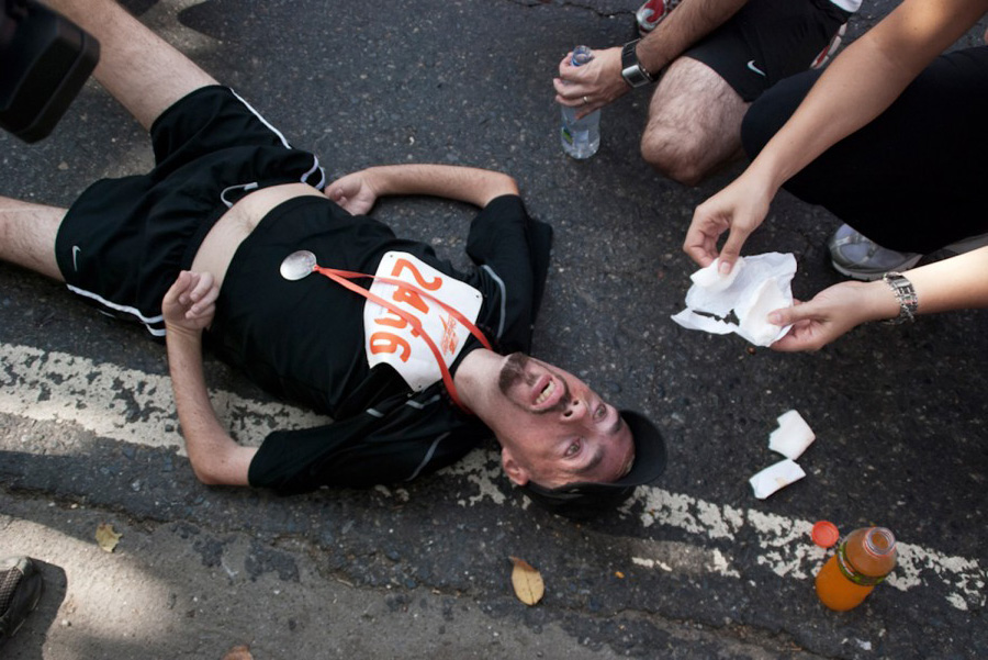 Melamed rests after completing his first 10K in 3 1/2 hours in February 2010.