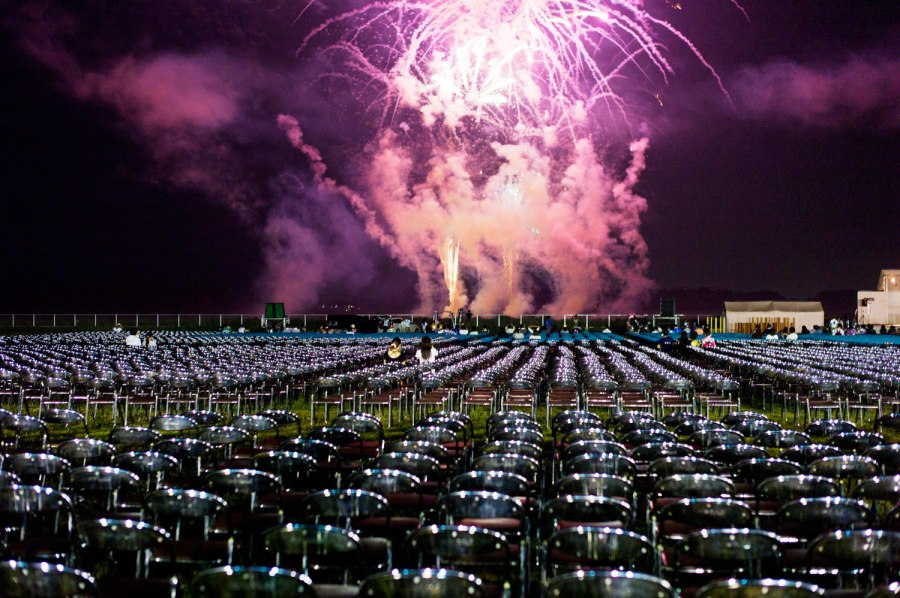 August 13, 2011. Fireworks brighten the sky over Soma, Japan. The display commemorated those who died after the massive earthquake and tsunami in March.