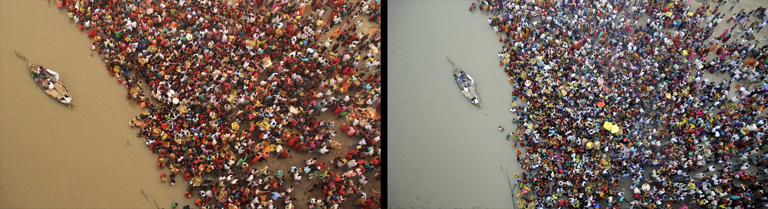 November 1, 2011. Hindu devotees gather to worship the Sun god on the banks of river Ganges during the Hindu religious festival  Chhat Puja  in the eastern Indian city of Patna. Hindu devotees worship the Sun god and fast all day for the betterment of their family and society during the festival.
