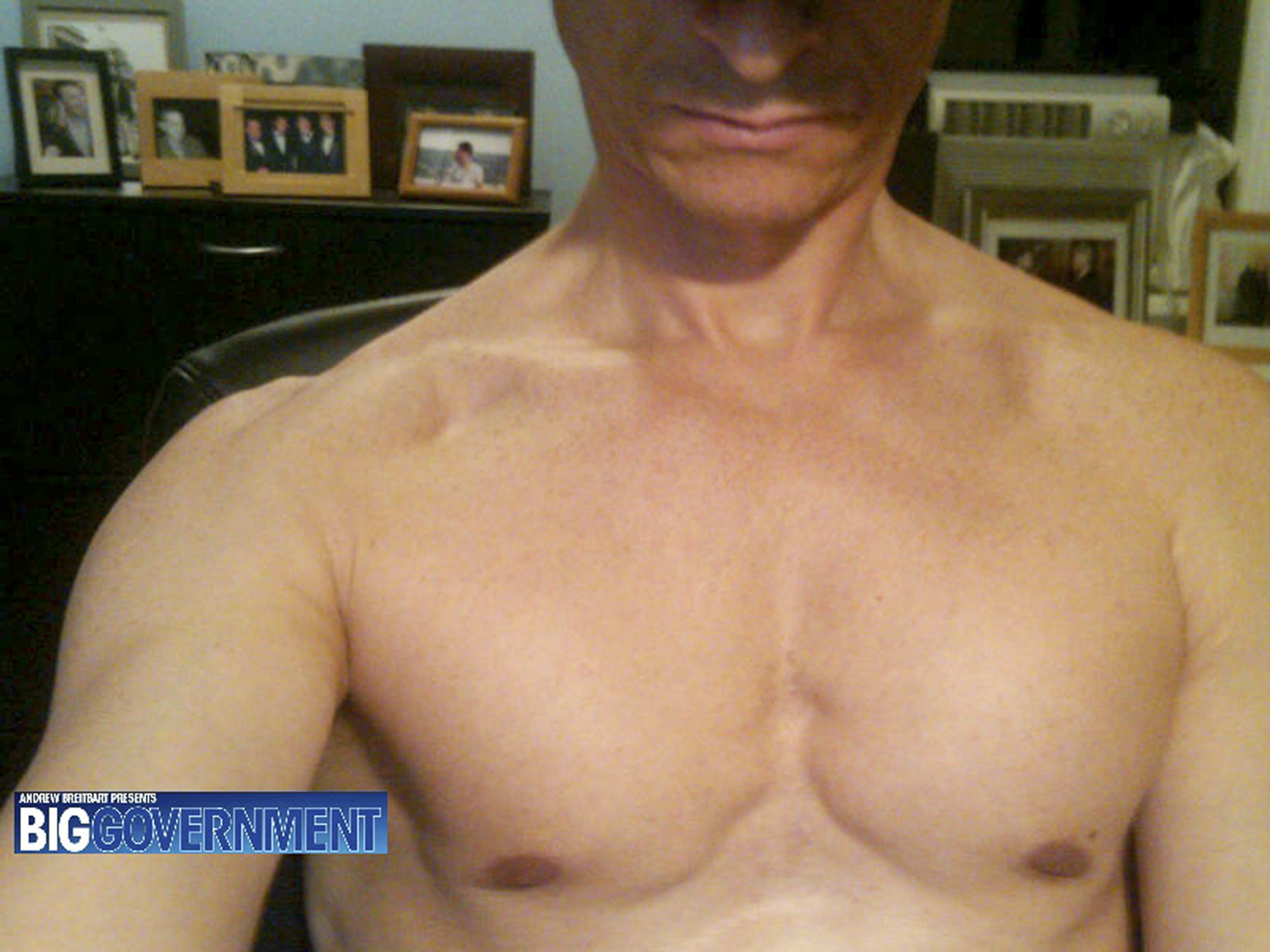 Conservative blogger Andrew Breitbart published this photograph of Congressman Anthony Weiner on his website, Bigjournalism.com, from where it spread across the internet.                                                              Breibart posted the image in response to Weiner's denials that he had tweeted a lewd pictures of himself on Twitter. Because of its graphic nature, the photo was not widely reproduced on mainstream media websites (and will thus not be re-printed here), but this subsequent shot, showing a shirtless Weiner seated in front of a computer, gained wide currency at the same time. Apparently sent by Weiner to a Texas woman a few weeks before the more explicit image became public, it, too, first surface on Breitbart's site and increased the pressure on Weiner, who subsequently acknowledged sending the images and on June 16 announced his resignation from Congress.