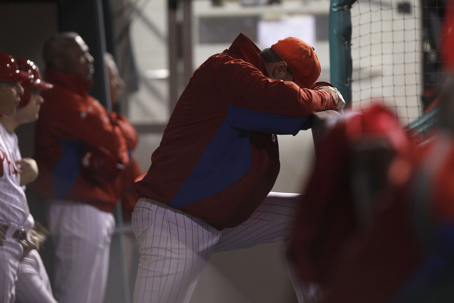 October 7, 2011. Philadelphia Phillies pitcher Roy Halladay laments his team's fate during the eighth inning of Game 5 of the National League Division Series. The St. Louis Cardinals, thanks to a masterly pitching performance by Chris Carpenter, beat Halladay and the Phillies 1-0 to advance to the League Championship Series against Milwaukee.