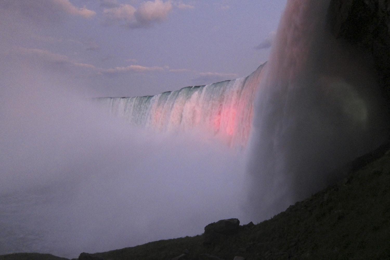 August 16, 2011. Niagara Falls, Canada shown at dusk.