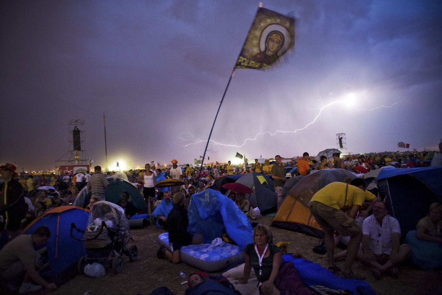August 20, 2011. Lightning illuminates the sky as a storm occurs the during a Vigil as part of the World Youth Day 2011 in Madrid, Spain.