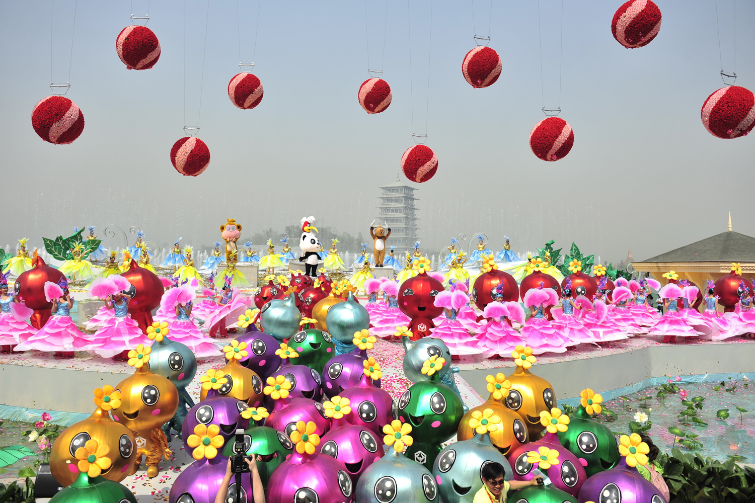 April 28, 2011. Chinese artists perform on stage during the opening ceremony of the International Horticultural Exposition 2011 in Xi'an, Shaanxi Province of China.
