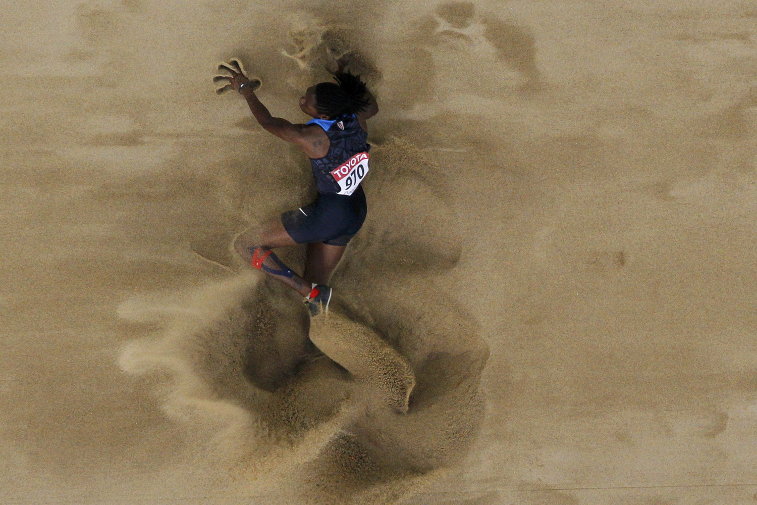 August 28, 2011. Brittney Reese of the U.S. competes during the women's long jump final at the IAAF World Championships in Daegu, South Korea.