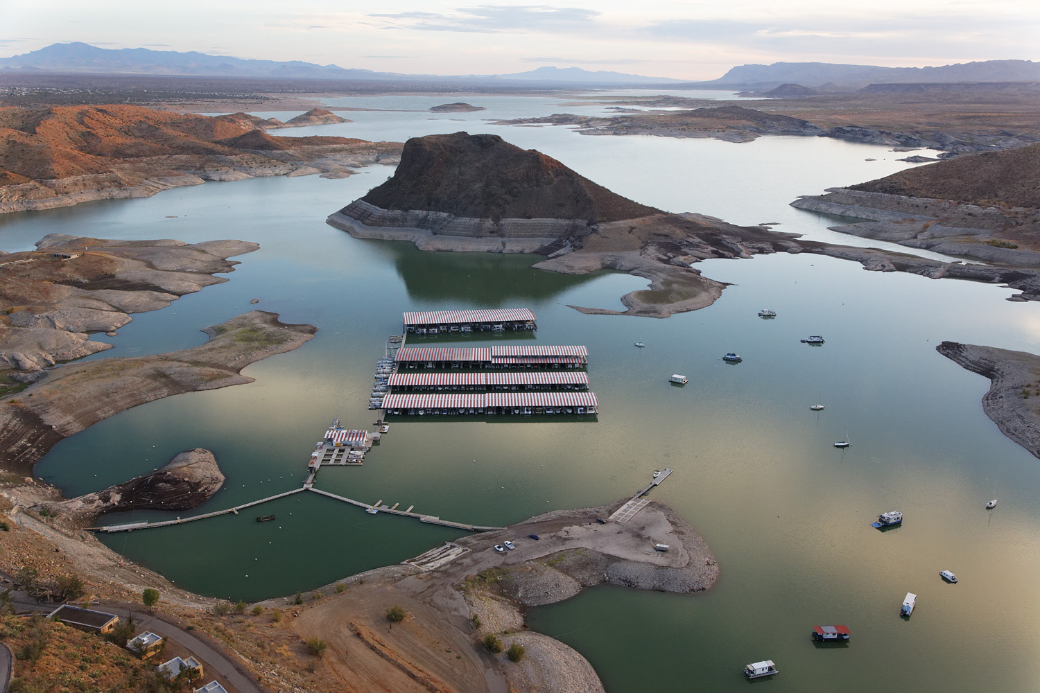 August 3, 2011. Water levels in New Mexico's Elephant Butte Reservoir in the Rio Grande Valley, whcih are at extreme lows.