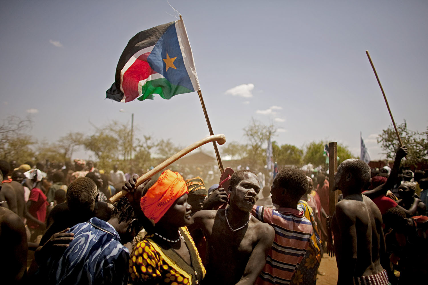 February 4, 2011. Southern Sudanese from the pastoralist Taposa tribe take part in a nationalist celebration in the remote area of Kapoeta.