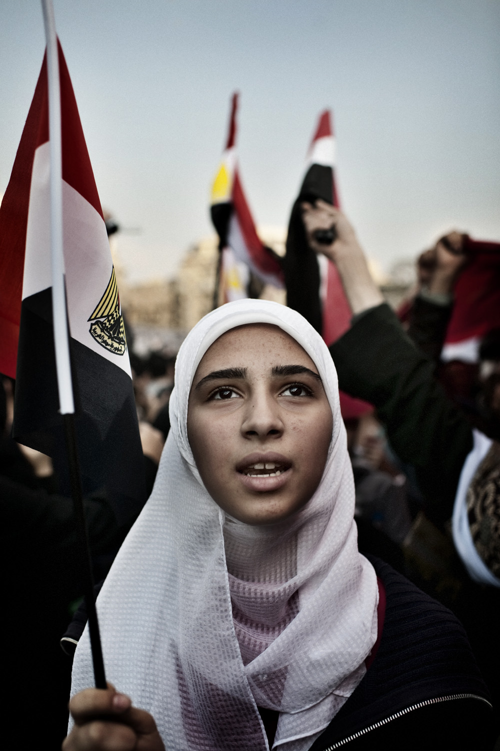 February 8, 2011. Anti-government demonstrator Fatma Garber, 16, in Tahrir Square during the second week of protests against Egyptian president Hosni Mubarak.