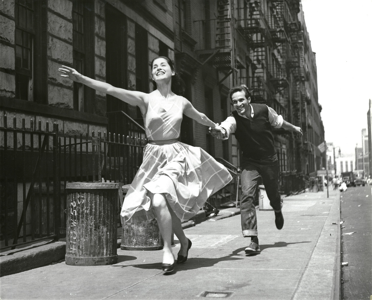 Leo Friedman's image of Carol Lawrence and Larry Kert in a stage photograph for the original broadway production of West Side Story in New York City, 1957.