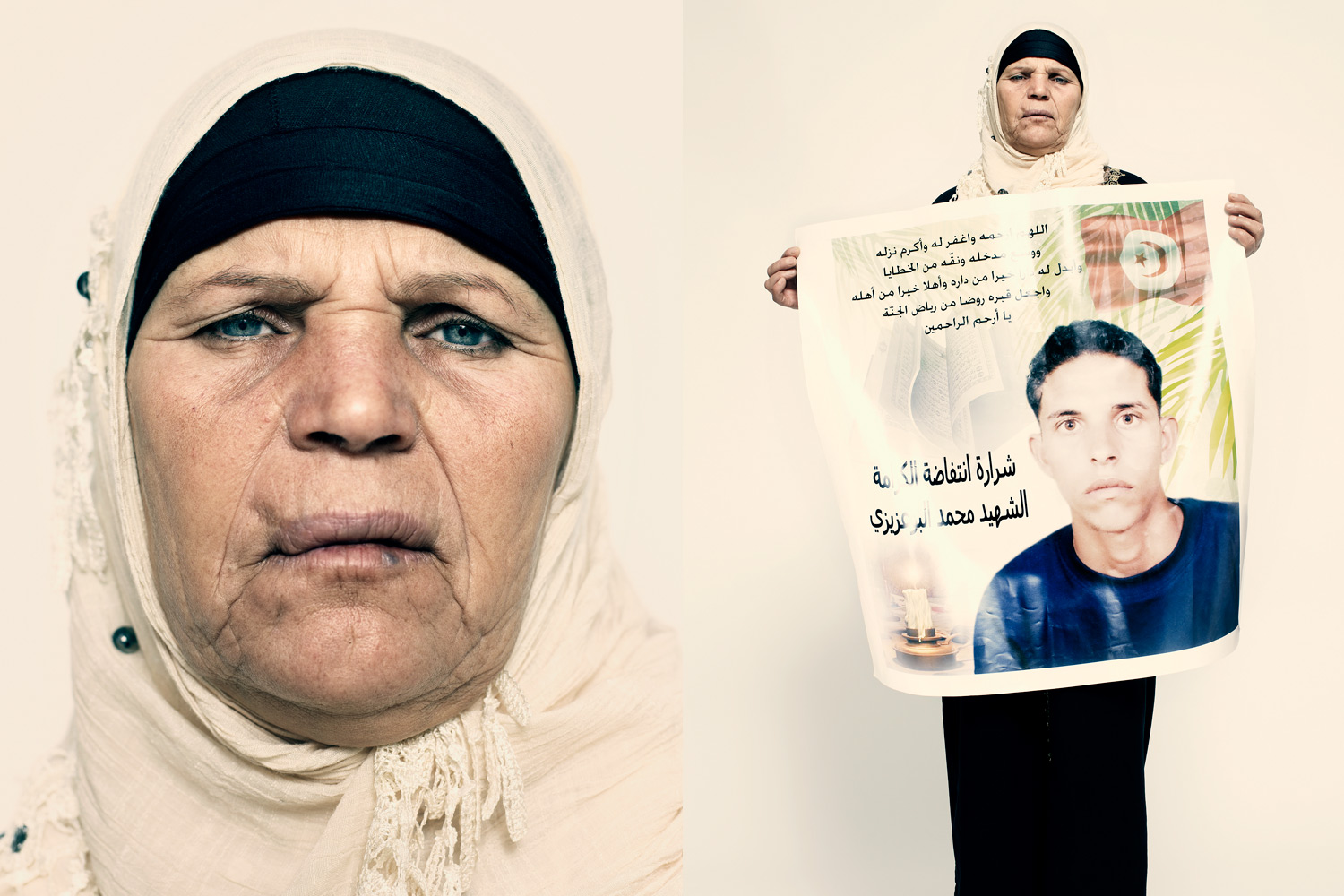 Mannoubia Bouazizi, the mother of Tunisian street vendor Mohamed Bouazizi, says,  Mohamed suffered a lot. He worked hard. But when he set fire to himself, it wasn't about his scales being confiscated. It was about his dignity.