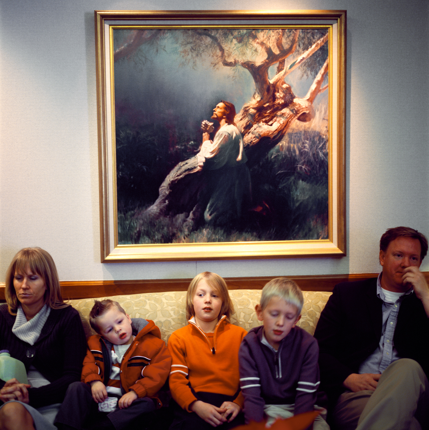Rachel, my sister, her husband Chris, their two sons and nephew wait in the Timpanogos Temple's reception room during sister Kim's wedding. Due to their sacred nature, the actual wedding ceremony, or sealing, takes places in a separate private ceremonial room. December 2007