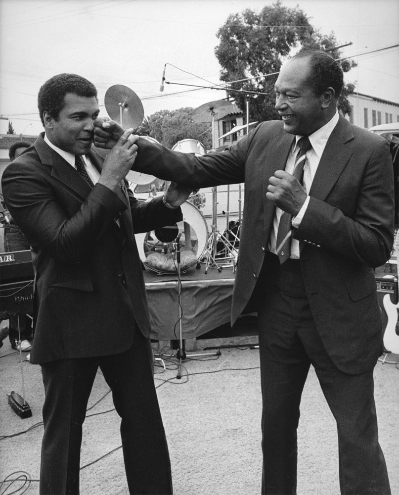 Guy Crowder's image of Muhammad Ali and Tom Bradley in Los Angeles circa 1983.