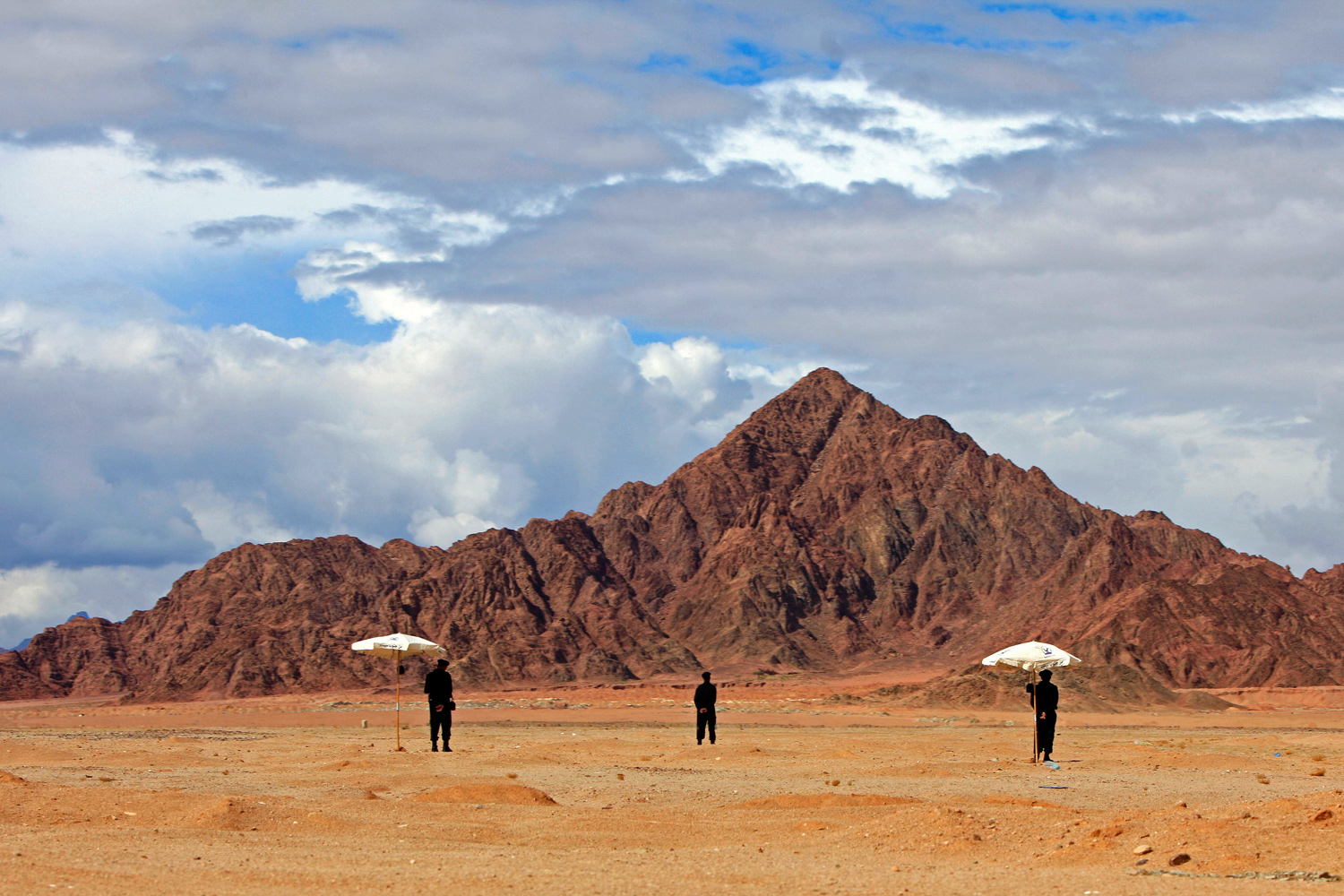 January 18, 2011. Egyptian soldiers stand alert at the Red Sea resort of Sharm el Sheik, Egypt in preparation for the Arab economic summit.