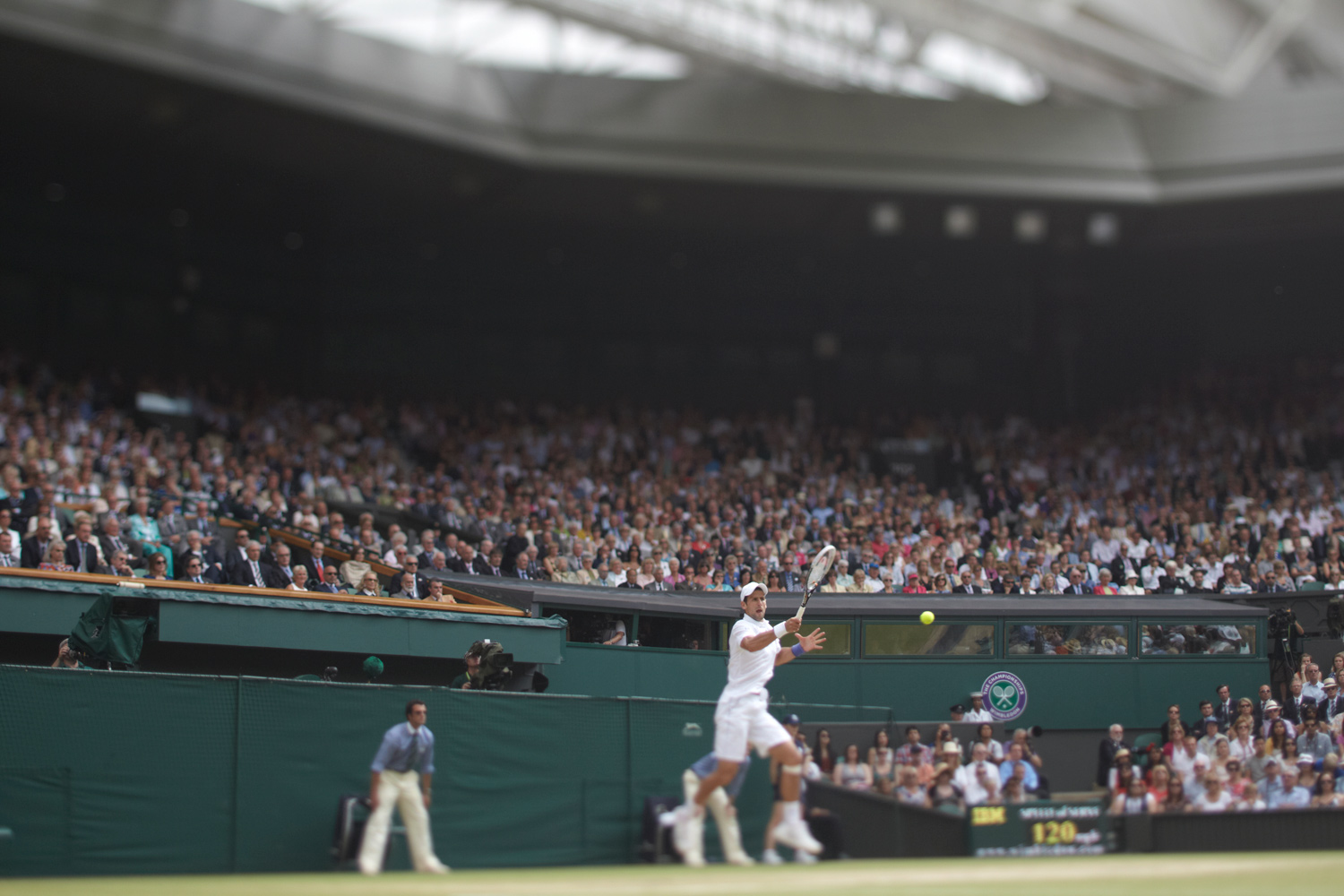 July 3, 2011. A wide view of Serbia's Novak Djokovic in action against Spain's Rafael Nadal during the Men's final match at All England Club.