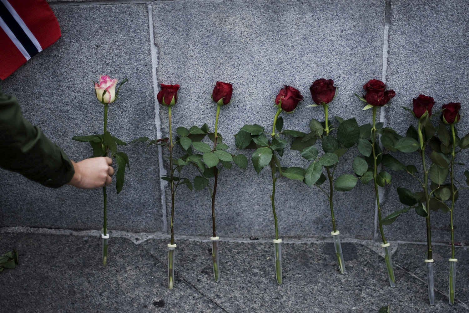 July 25, 2011. People place roses in front of Oslo's town hall after as many as 150,000 people gathered for a flower vigil in the capital, in a show of solidarity with the victims of deadly attacks in Norway.