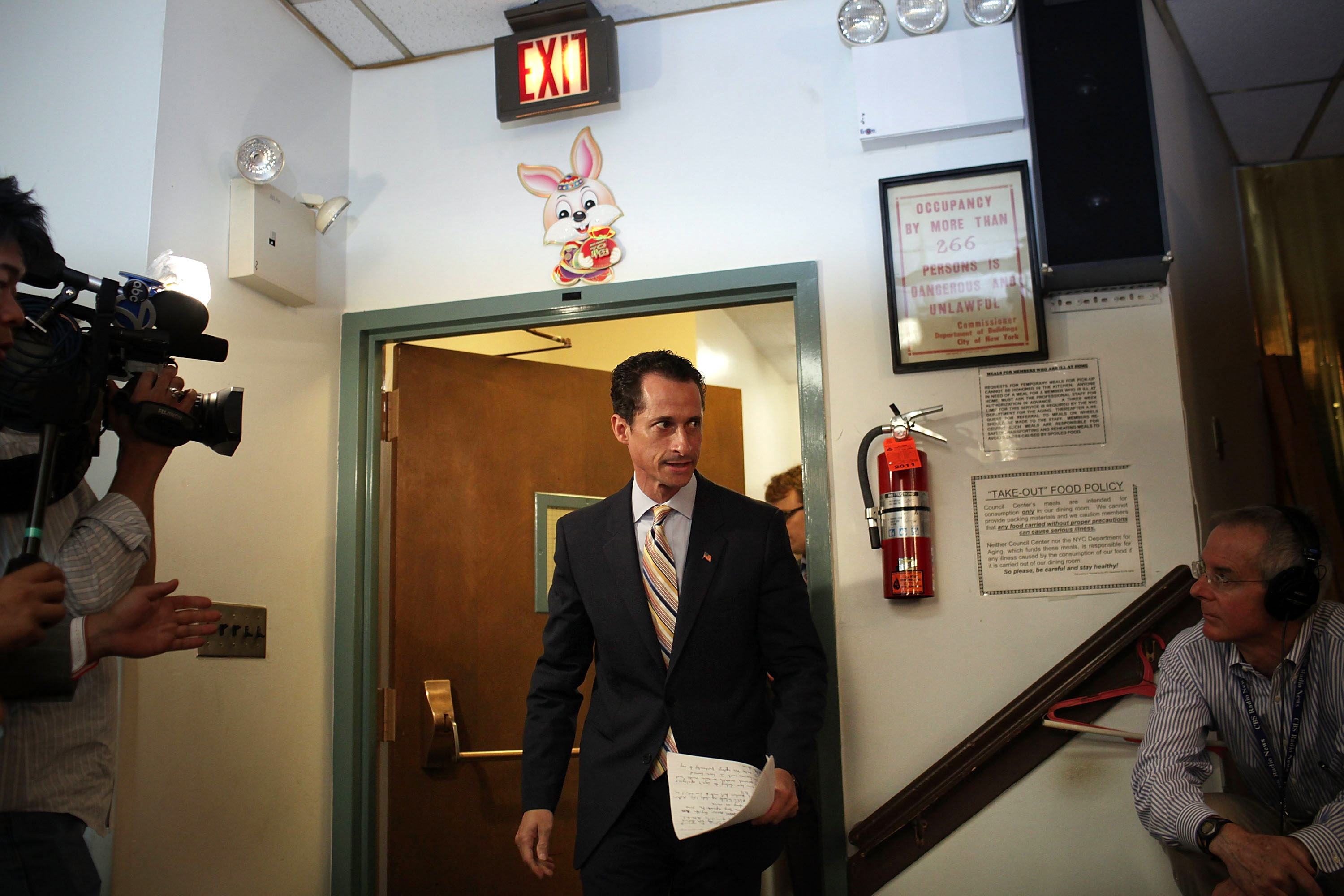 June 16, 2011. Rep. Anthony Weiner (D-NY) arrives to announce his resignation in the Brooklyn borough of New York City. The resignation came 10 days after the congressman admitted to sending lewd photos of himself on Twitter.