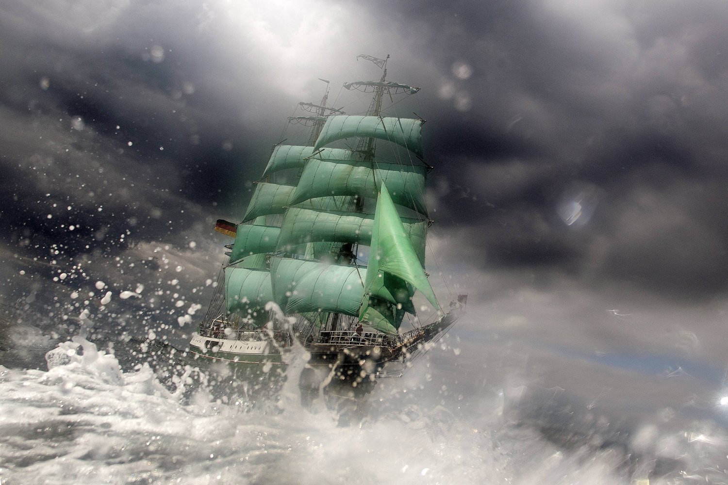 June 24, 2011. The tall ship Alexander von Humbolt cuts through waves and weather during Kieler Woche, the world's largest sailing event in the world in Kiel, Germany.