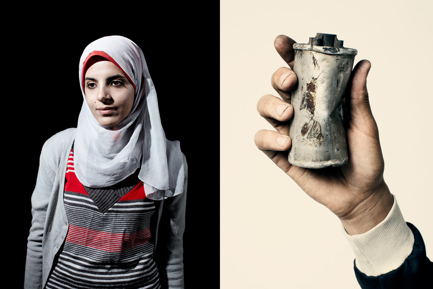 Egyptian protester Nehal Marei. Right, a tear-gas canister in Egypt.