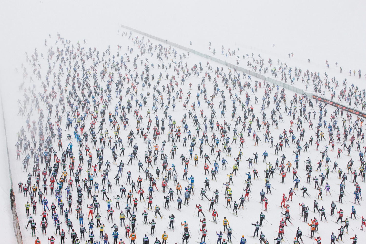 March 13, 2011. The Engadine cross-country skiing marathon from Maloja to S-Chanf in south Eastern Switzerland. Around 12,000 people participated in the event.