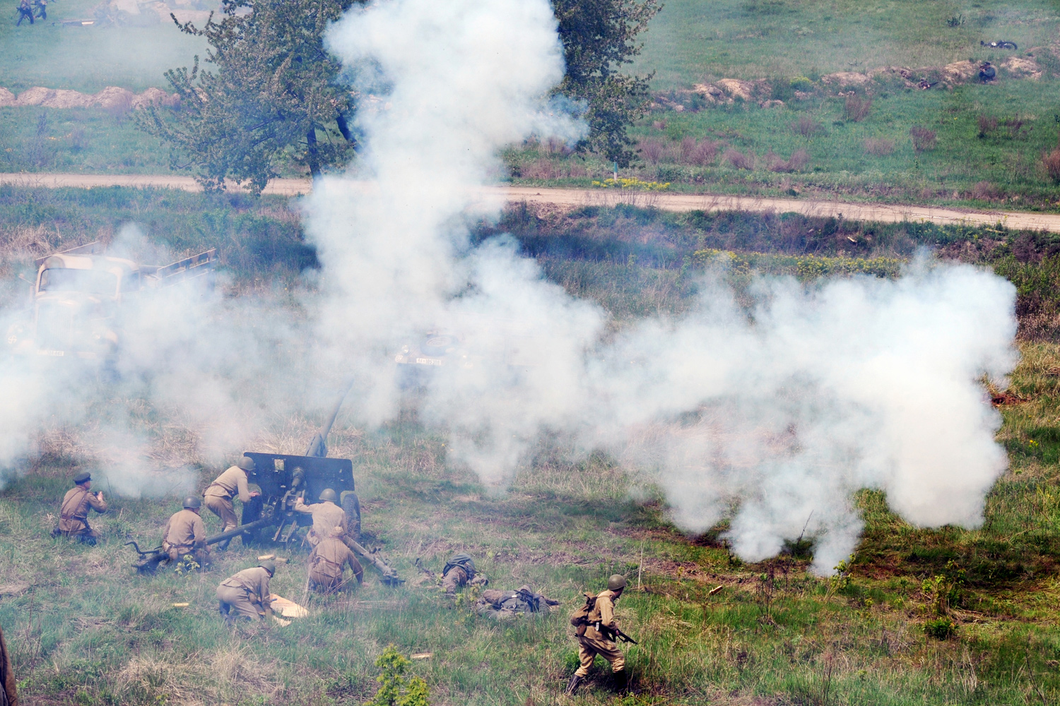 May 8, 2011. Members of military historical clubs, dressed in military uniforms, re-enact a World War II battle in Kiev, Ukraine.