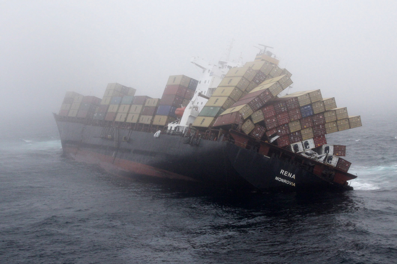 November 2, 2011. MV Rena is battered by strong seas as it is stuck on Astrolabe Reef, in Tauranga, New Zealand. The stricken vessel encountered a three meter swell, which led authorities to fear it may finally break up.