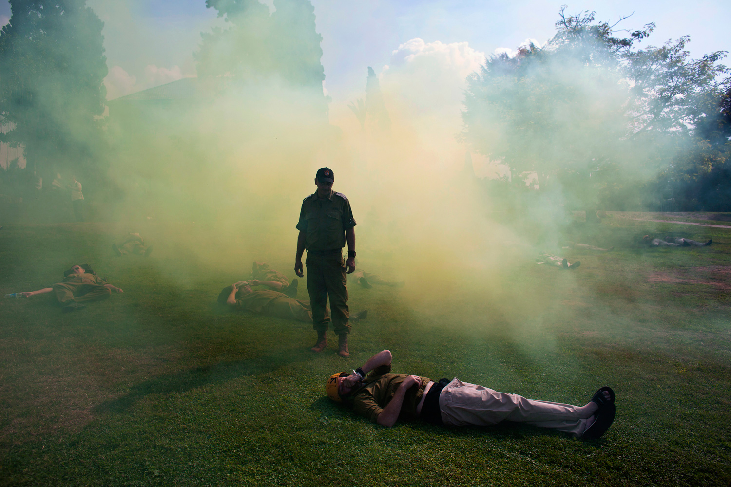 November 3, 2011. Israeli soliders role playing as mock victims lie on the ground during a drill simulating a missile attack in Holon, near Tel Aviv.