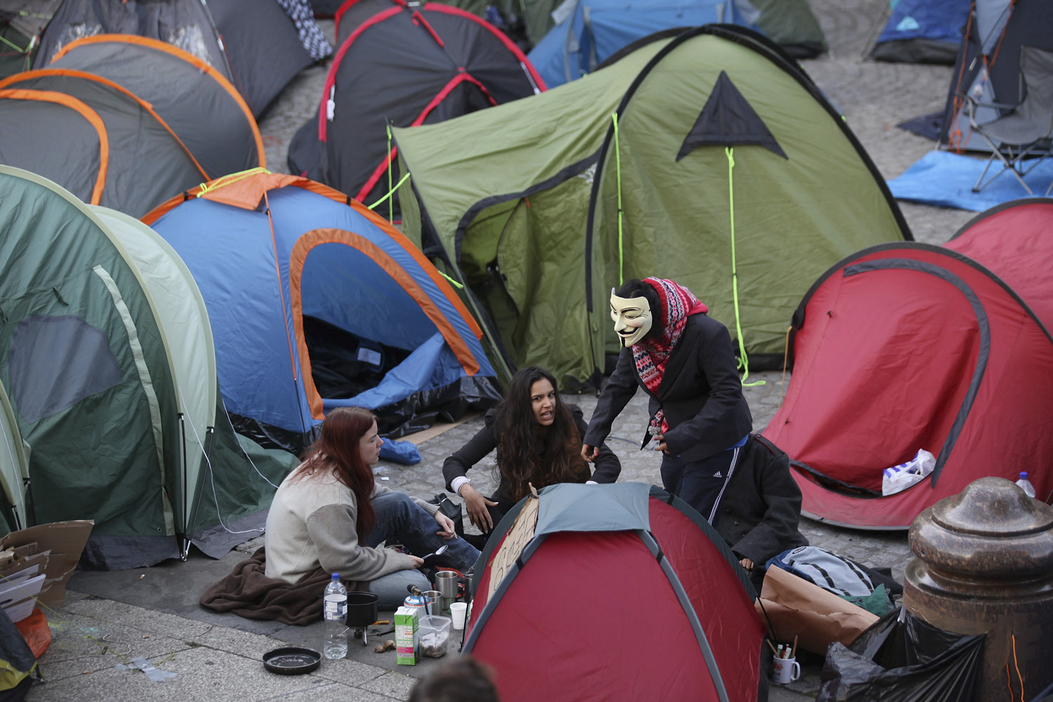 October 17, 2011. Tents are pitched in front of St. Pauls' Cathedral on the third day of a protest to occupy the London Stock Exchange in London, England.