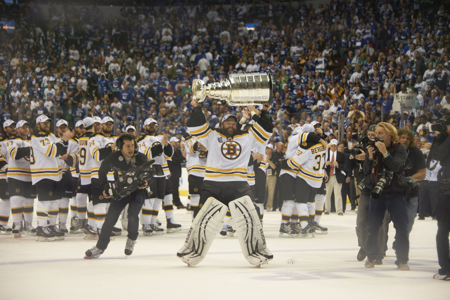 Lou Capozzola's photograph of Boston Bruins goalie Tim Thomas as he raises the Stanley Cup after the Bruins defeated the Vancouver Canucks in Vancouver on June 15, 2011.