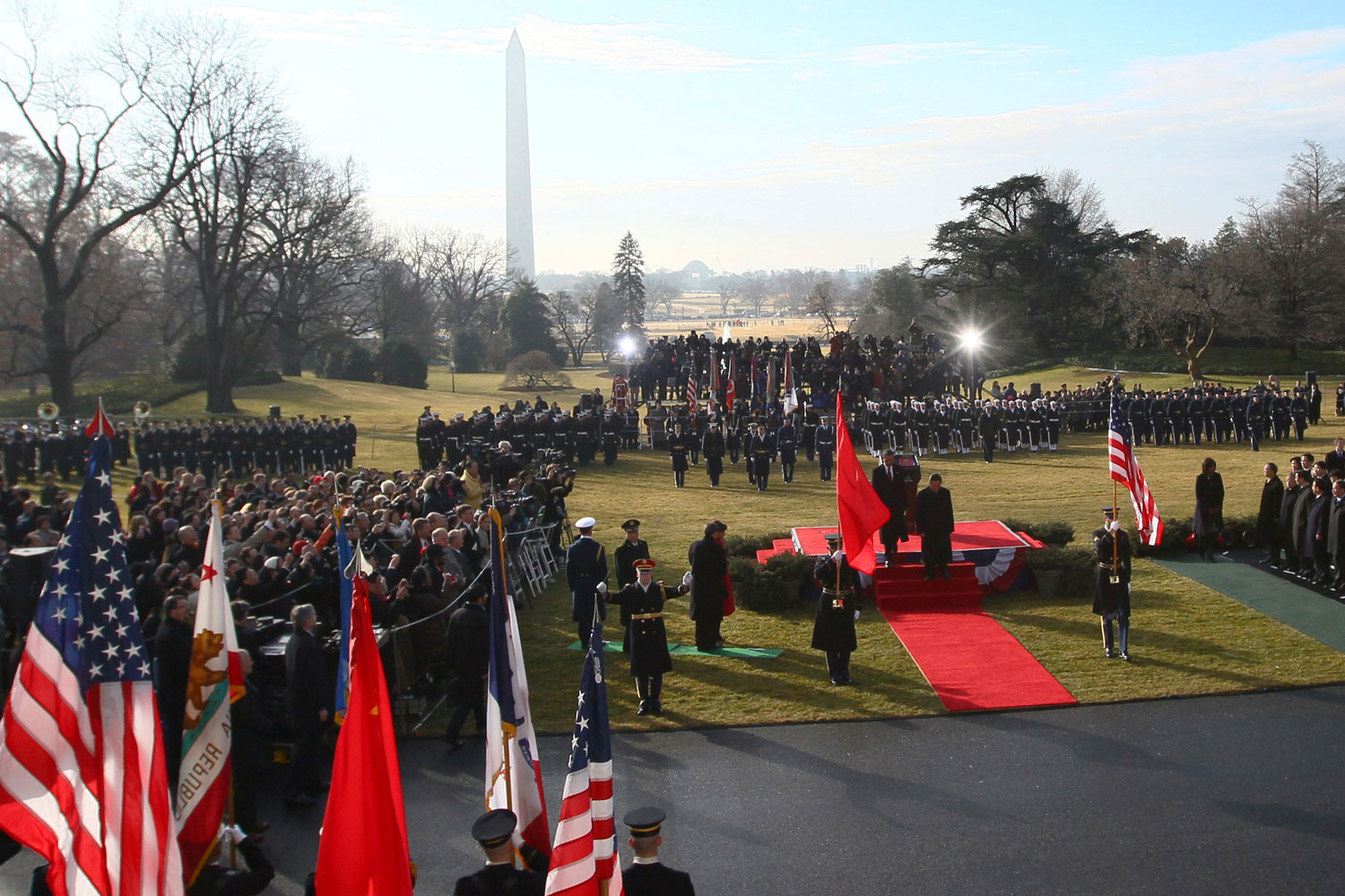 January 19, 2011. President Barack Obama (R) and Chinese President Hu Jintao (L) walk to the White House residence following a State arrival ceremony in Washington, DC.