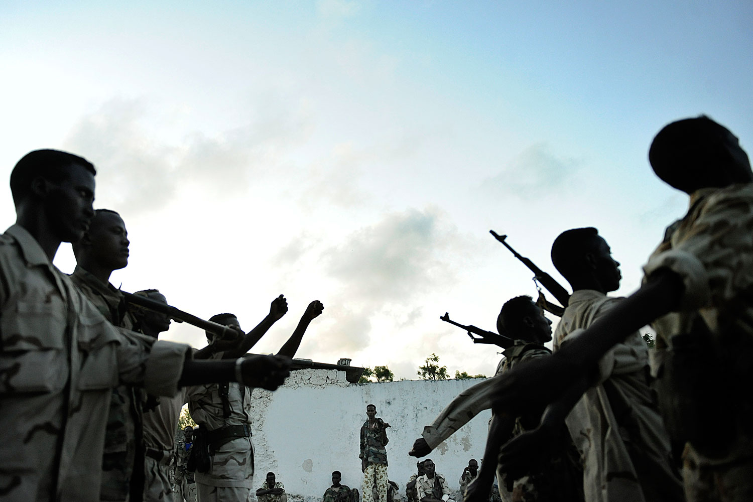 October 4, 2011. Soldiers of the Transitional Federal Government TFG, army in Somalia performing drills at a base near a frontline.