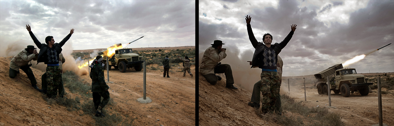 March 9, 2011. Libyan rebels fire rockets at government troops on the front line near Ras Lanuf, Libya. The rebels pushed back government troops loyal to Libyan leader Muammar Gaddafi towards Ben Jawat.