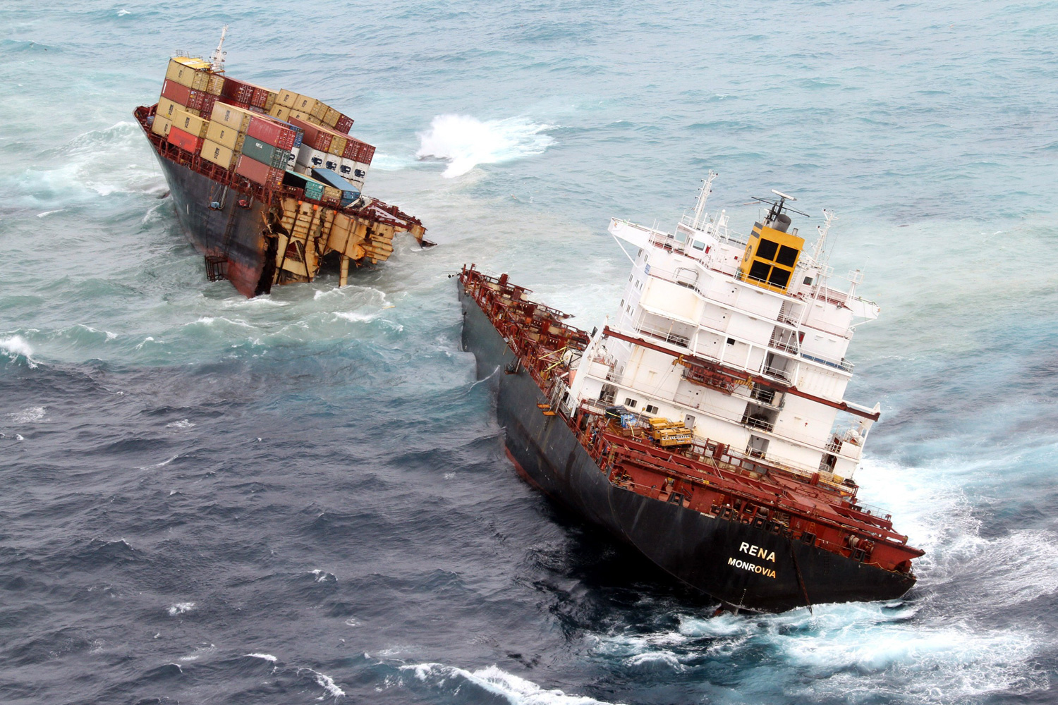 January 8, 2012. Part of a container ship marooned off New Zealand  slips into the sea. The ship, the Rena ran aground on a reef in October, leading to a  spill of cargo and fuel oil that is considered the nation's worst eco-disaster.
