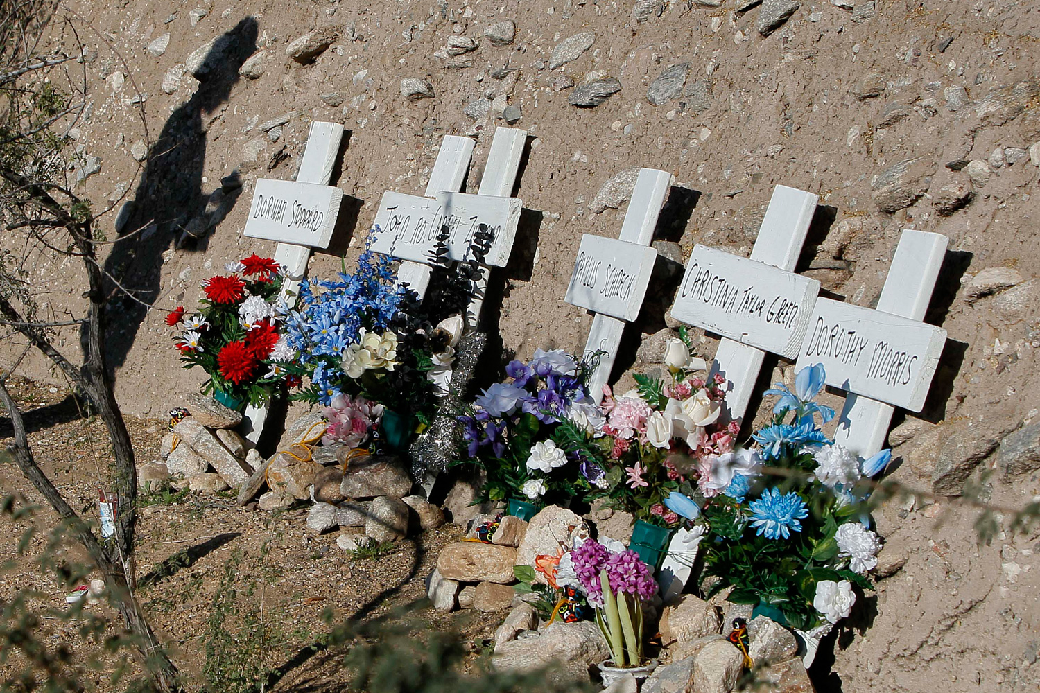 January 8, 2012. Six memorial markers with the names of those who died in a shooting spree are displayed in Tucson, Ariz., across the street from the Safeway grocery store where U.S. Rep. Gabrielle Giffords, D-Ariz., was shot one year ago during the shooting spree that left 6 dead and 13 wounded.