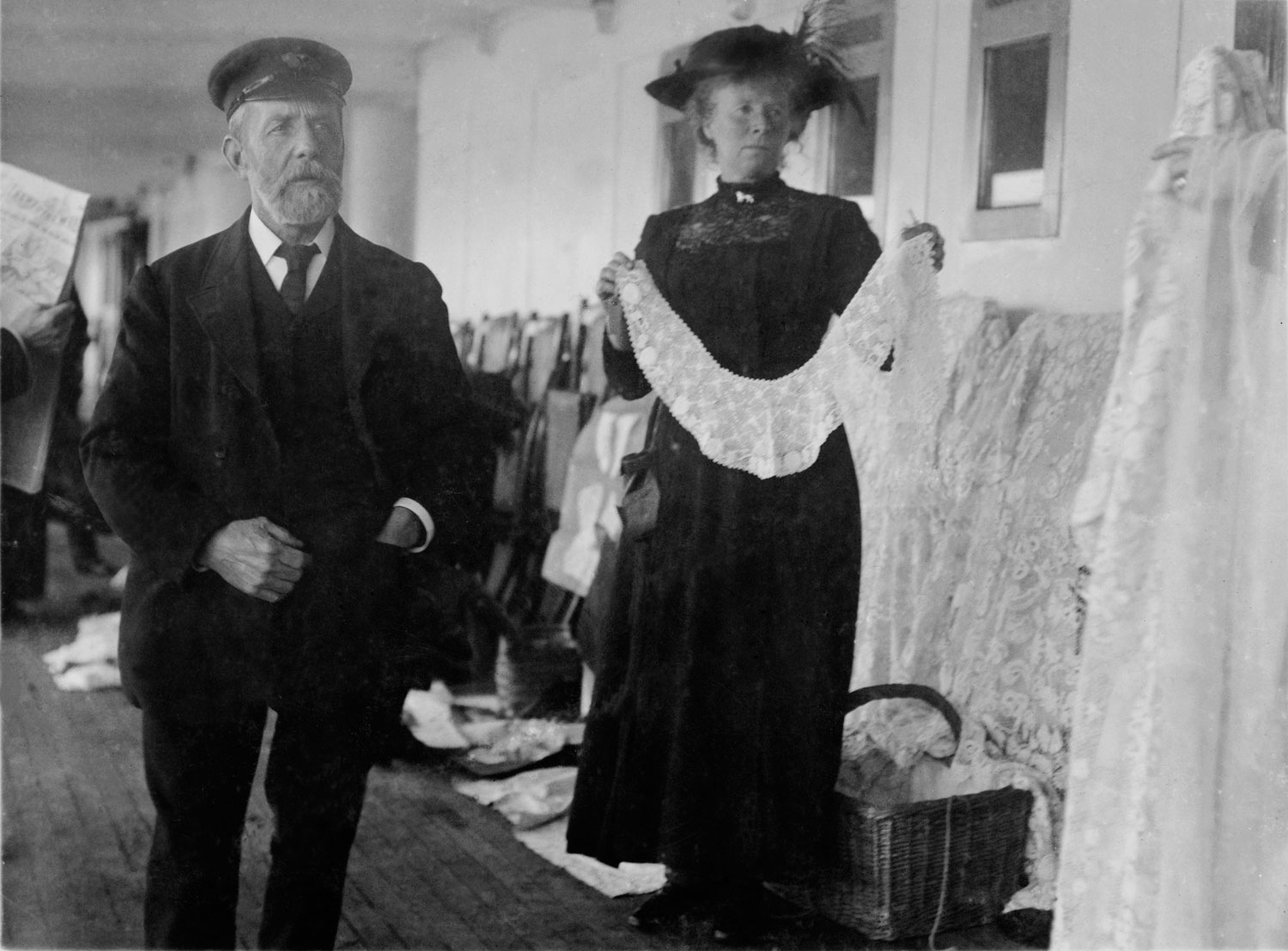 Woman selling Irish lace aboard the Titanic, April 11, 1912.