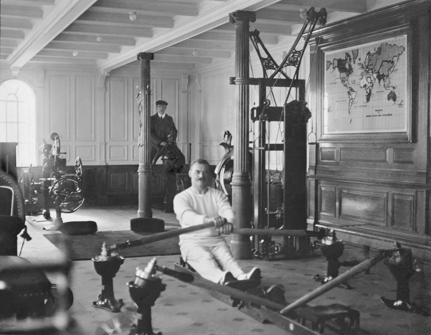 Gymnasium on the Titanic, 1912.