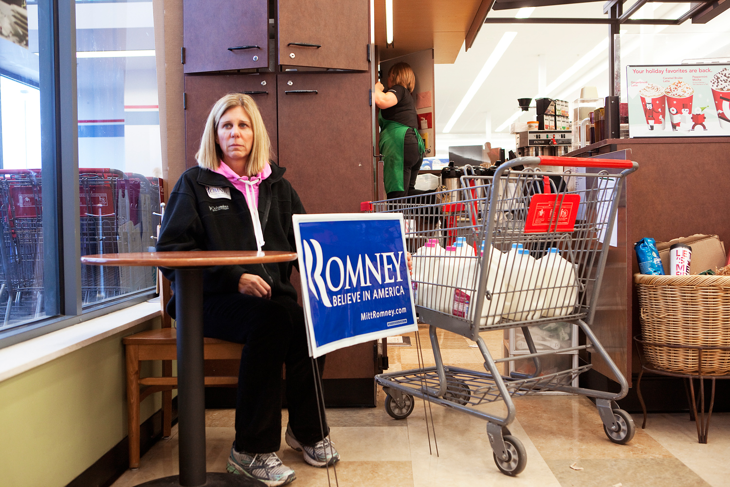Mitt Romney supporter Becky Nicoli at a campaign event at Hy-Vee supermarket in Des Moines, Iowa on December 30, 2011.