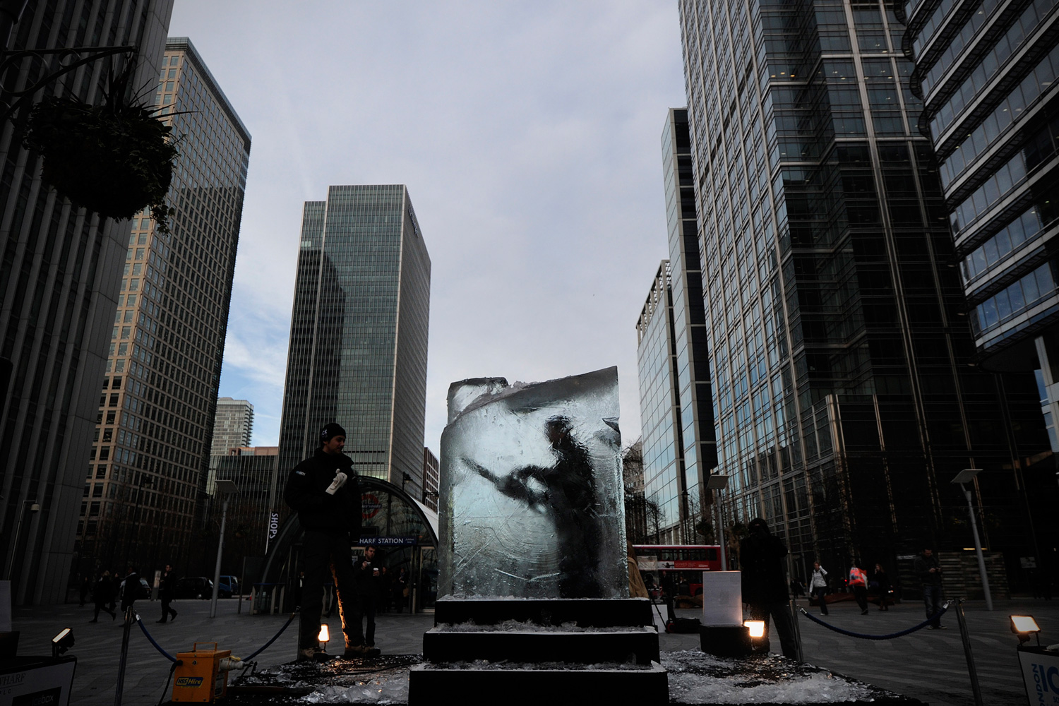 January 13, 2012. An ice sculptor works on a block of ice during the London Ice Sculpting Festival in Canary Wharf, East London.
